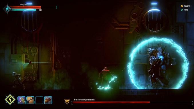 """Das Bild zeigt eine Scene aus dem Spiel """"Dark Light"""". Ein Bossfight ist abgebildet."""