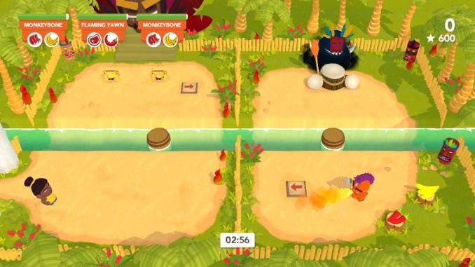 """Das Bild zeigt einen orangefarbenen Kannibalen aus dem Spiel """"Cannibal Cuisine"""", welcher gerade Feuer spuckt."""