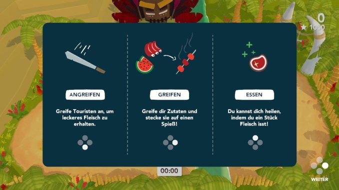 """Das Bild zeigt die Grundsteuerung von """"Cannibal Cuisine"""". Man erkennt wie man angreift, wie man Dinge greift und wie man Fleisch isst."""