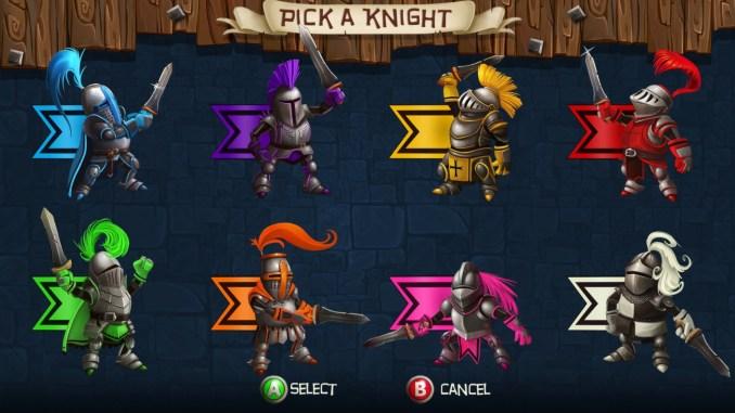 """Das Bild zeigt alle acht Ritter des Spiels """"Knight Squad"""" in ihrer jeweiligen Farbe."""