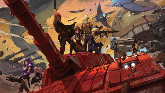 """Das Bild zeigt eine Szene aus dem Spiel """"Metal Max Xeno: Reborn"""". Man erkennt jede Menge bewaffneter Krieger."""