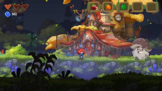 """Das Bild zeigt eine Szene aus dem Spiel """"Potata: Fairy Flower"""". Man sieht die Protagonistin Potata, welche in einem verzauberten Wald steht."""