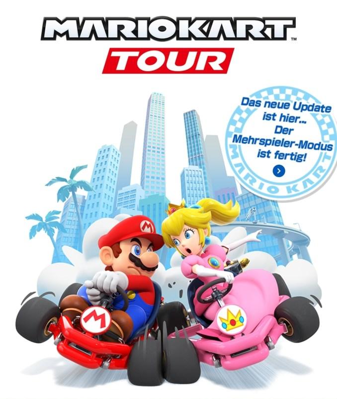 """Das Bild zeigt, dass das neue Update von """"Mario Kart Tour"""" den Mehrspieler-Modus hinzufügt."""