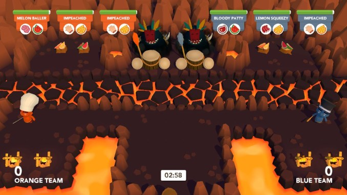 """Das Bild zeigt die Vulkan-Arena im Versus-Modus von """"Cannibal Cuisine"""". Team Rot und Team Blau treten gegeneinander an."""