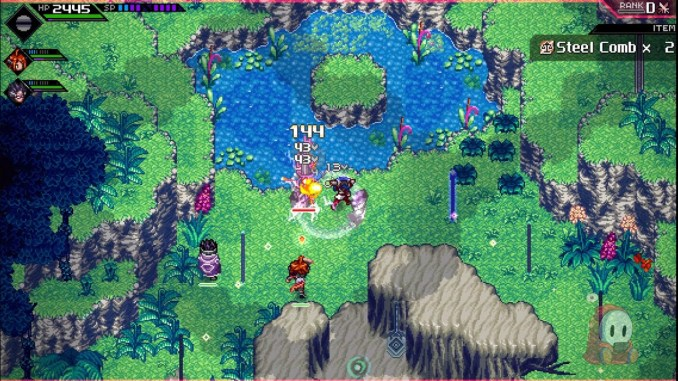 """Das Bild zeigt das Kampfgeschehen in """"CrossCode""""."""
