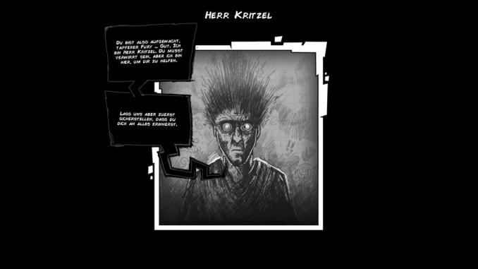 """Das Bild zeigt eine Illustration von Herrn Kritzel aus """"Fury Unleashed""""."""