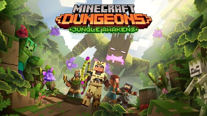 """Das Bild zeigt die schaurige Dschungelkulisse zu dem DLC von """"Minecraft Dungeons""""."""