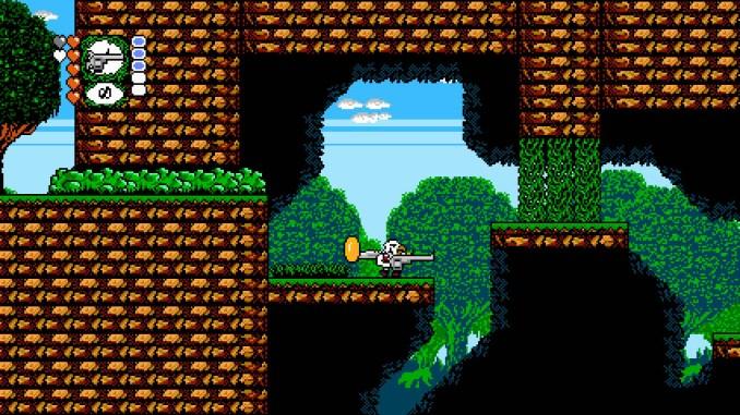 """Das Bild zeigt eine Szene aus dem Spiel """"Revenge Of The Bird King"""". Man erkennt den Protagonisten, den Vogelmenschen"""" welcher in einer 2D-Passage mit einer Waffe in der Hand die Pixelwelt erkundet."""