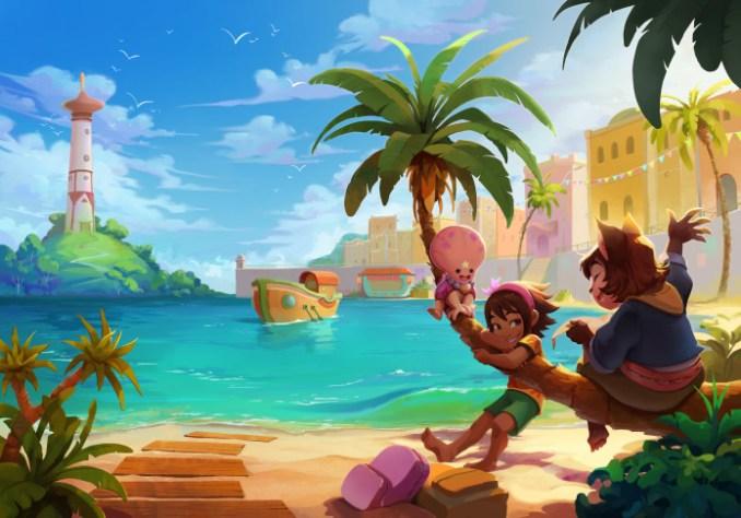 """Das Bild zeigt ein Artwork mit Meer und Leuchtturm aus """"Summer in Mara"""""""