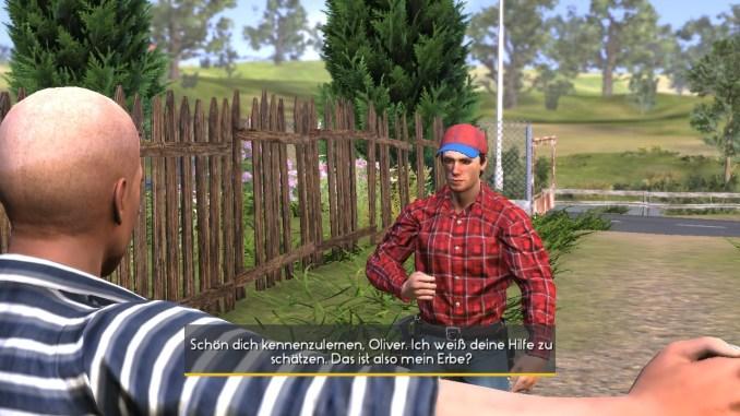 """Das Bild zeigt eine Konversation zwischen dem Protagonisten und dem Nachbarn Oliver aus dem Spiel """"Farmers Dynasty""""."""