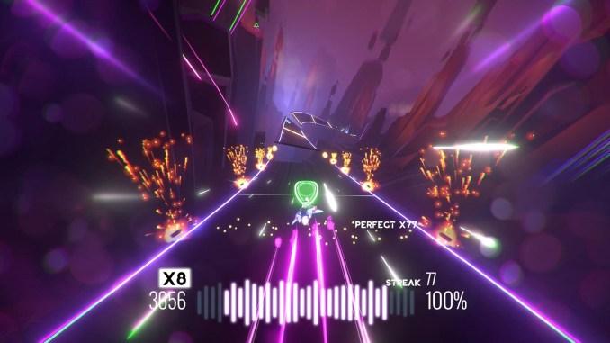 """Das Bild zeigt eine Szene aus dem Spiel """"AVICII Invector Encore Edition""""."""