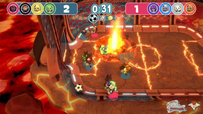 """Das Bild zeigt ein rasantes Duell auf einem brennenden Fußballplatz. Es handelt sich um eine Szene aus dem Spiel """"Aeolis Tournament""""."""