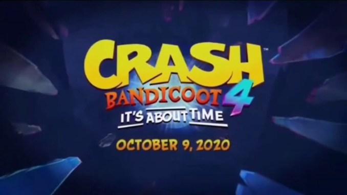 """Das Bild zeigt das Releas-Datum von """"Crash Bandicoot 4: It's About Time"""": Dem 09. Oktober 2020."""