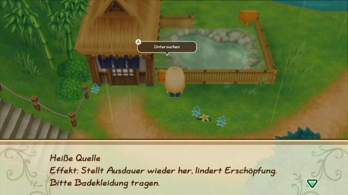 """Das Bild zeigt meinen Charakter in """"Story of Seasons: Friends of Mineral Town"""", welcher vor einer heißen Quelle steht."""