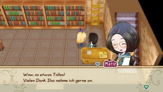 """Das Bild zeigt die Bibliothek in Mineral Town. Diese ist Teil des Spieles """"Story of Seasons: Friends of Mineral Town"""". Dort arbeitet Marie."""