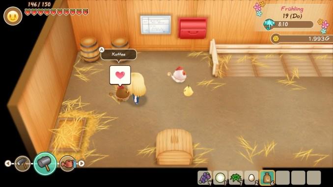"""Das Bild zeigt ein Huhn in dem Spiel """"Story of Seasons: Friends of Mineral Town"""". Es hat ein Herz über dem Kopf."""