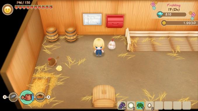 """Das Bild zeigt den Hühnerstall im Spiel """"Story of Seasons: Friends of Mineral Town""""."""