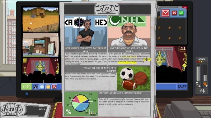 """Das Bild zeigt eine Zeitung auf dem virtuellen Computer von """"Do Not Feed the Monkeys""""."""