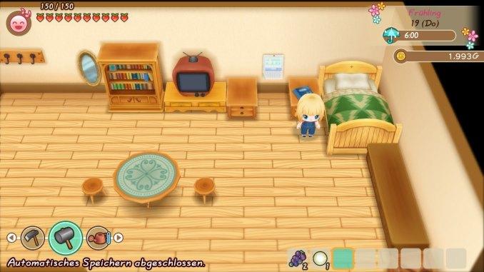 """Das Bild zeigt meinen Charakter aus """"Story of Seasons: Friends of Mineral Town"""" vor seinem Bett sehend."""