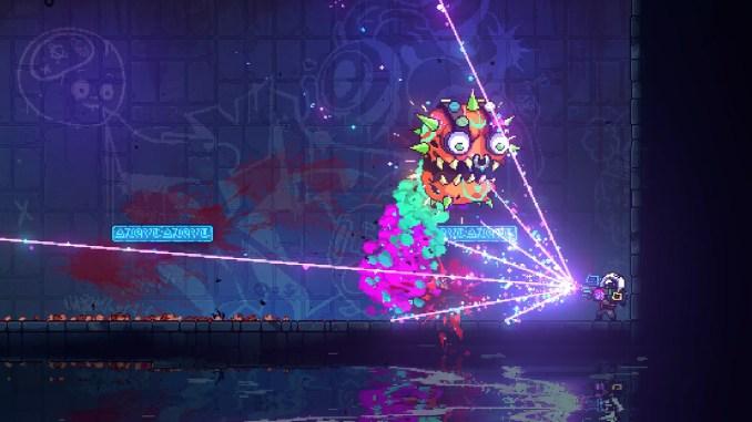 """Das Bild zeigt einen Boss-Fight aus dem Spiel """"Neon Abyss"""". Man erkennt den Protagonisten, welcher gegen ein kunterbuntes Monster kämpft."""
