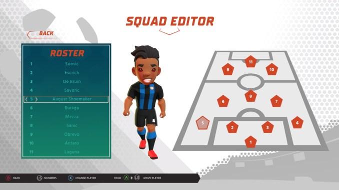 """Das Bild zeigt den taktischen Bildschirm von """"Super Soccer Blast""""."""