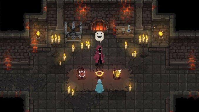 """Das Bild zeigt einen Shop in dem Spiel """"Wizard of Legend"""". Man erkennt einen Händler, welcher besondere Gegenstände verkauft."""