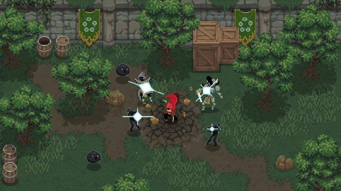 """Das Bild zeigt den Protagonisten des Spiels """"Wizard of Legend"""", welcher gegen sechs Feinde gleichzeitig kämpft."""