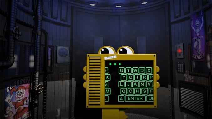 """Das Bild zeigt einen Code-Bildschorm in """"Five Nights at Freddy's: Sister Location""""."""
