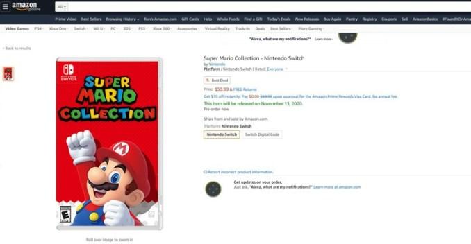 """Das Bild zeigt das Listing der """"Super Mario Collection""""."""