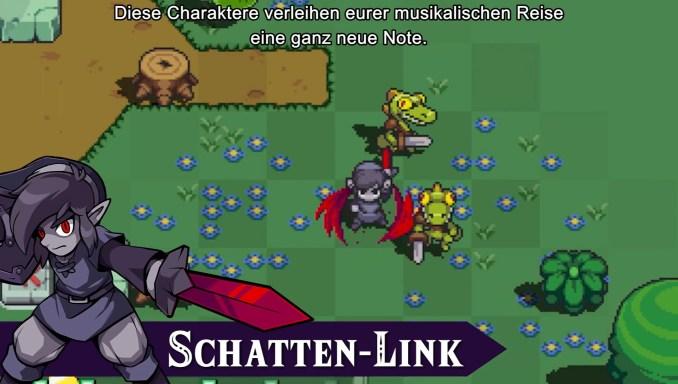 """Das Bild zeigt Schatten-Link in Action in """"Cadence of Hyrule""""."""