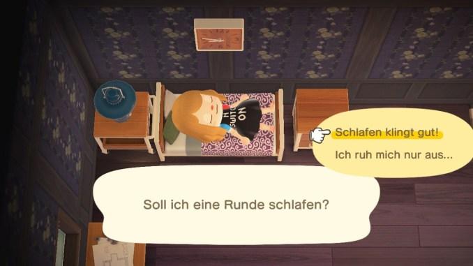"""Das Bild zeigt wie man in """"Animal Crossing: New Horizons"""" schlummern kann."""