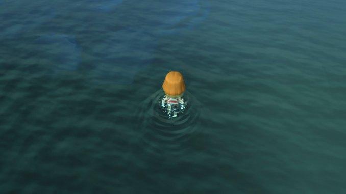 """Das Bild zeigt, wie es aussieht, wenn man im Meer in """"Animal Crossing: New Horizons"""" schwimmt."""