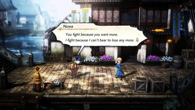 """Das Bild zeigt einen Dialog in einem Dorf in """"Eiyuden Chronicle""""."""