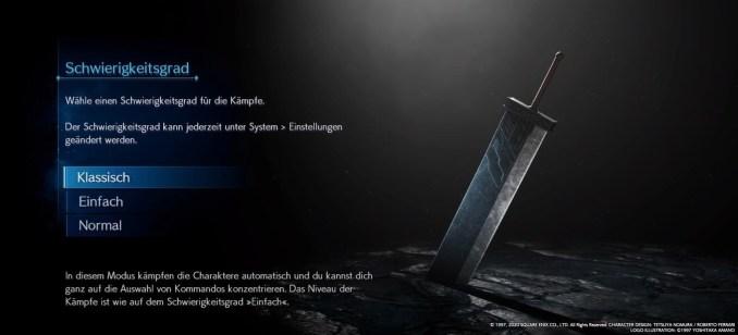 """Das Bild zeigt den Bildschirm zur Auswahl des Schwierigkeitsgrades in """"Final Fantasy VII Remake""""."""