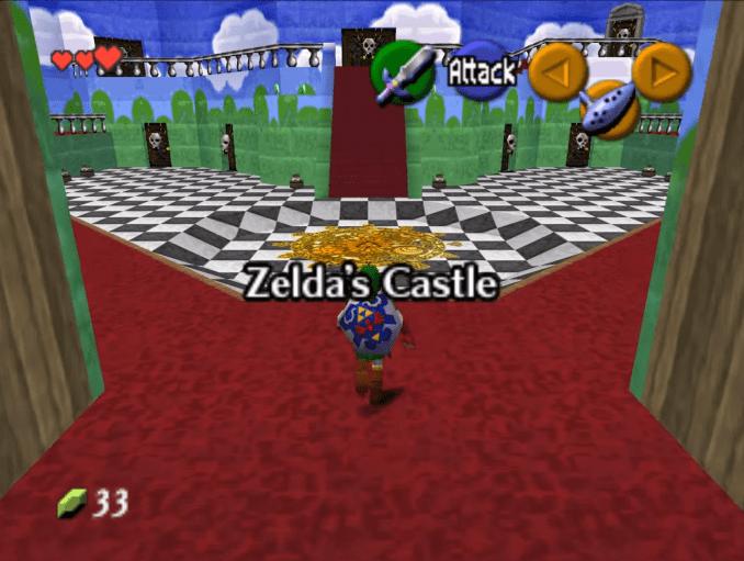 """Das Bild zeigt das Foyer von Zelda's Castle aus der """"The Legend of Peach""""-Mod von Modder Waikuteru."""