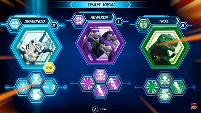"""Das Bild zeigt ein Team aus drei Monstern aus dem Spiel """"Bakugan: Champions of Vestoria""""."""