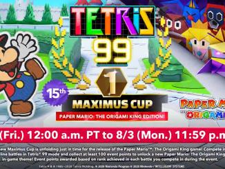 Das Bild zeigt die Ankündigung für den nächsten Tetris 99 Maximus Cup