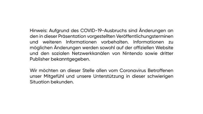 Das Bild zeigt Nintendos Statement zur Corona-Situation der Nintendo Direct Mini vom März.