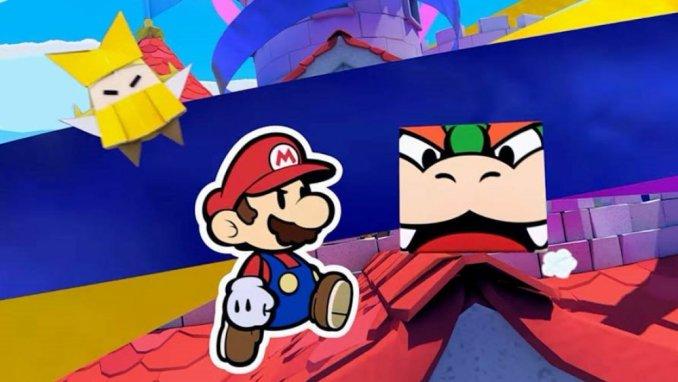 """Das Bild zeigt eine Spielszene zu """"Paper Mario: The Origami King"""", in der Mario und Bowser zu sehen sind."""