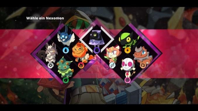 """Das Bild zeigt alle Starter-Nexomon aus dem Spiel """" Nexomon: Extinction""""."""
