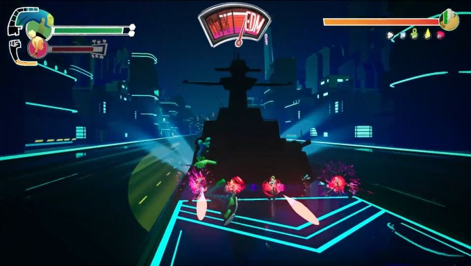 """Das Bild zeigt eine Spielszene aus """"No Straight Roads""""."""