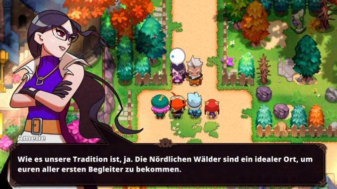 """Das Bild zeigt eine Szene aus dem Spiel """"Nexomon: Extinction"""". Man erkent Amelie, welche die neuen Tamer die nördlichen Wälder schickt."""