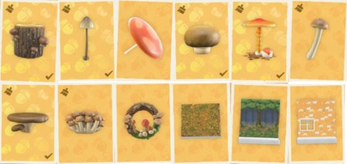 """Das Bild zeigt alle Pilz-DIY, die im Herbst in """"Animal Crossing: New Horizons"""" erhältlich sind."""