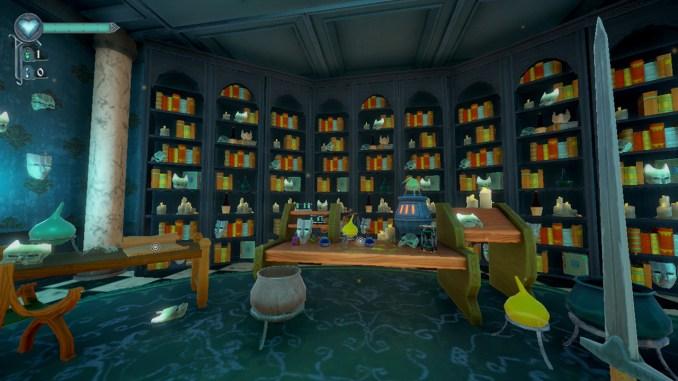 """Das Bild zeigt eine Bibliothek aus dem Spiel """"Mask of Mists""""."""