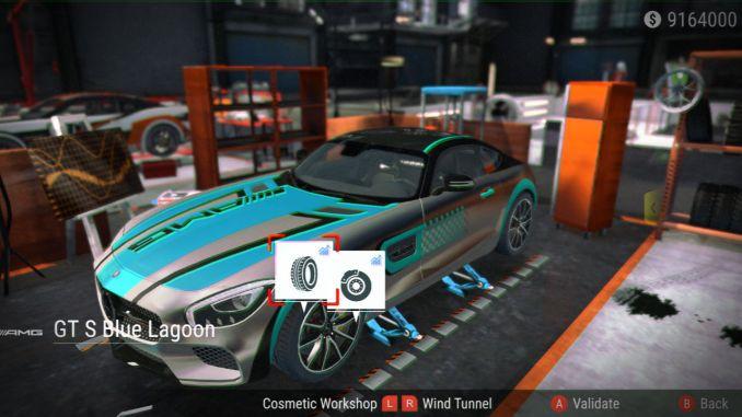 Dieses BIld zeigt einen AUszug zu den Anpassungsmöglichkeiten von Gear.Club Unlimited 2