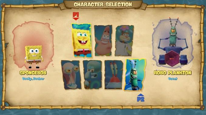 """Das Bild zeigt alle Charaktere aus dem Spiel """"SpongeBob SquarePants: Battle For Bikini Bottom – Rehydrated"""". Mit diesen kann man kämpfen."""