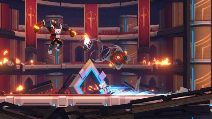"""Das Bild zeigt eine Szene aus dem Spiel """"Fallen Knight"""". Man sieht einen Bosskampf."""