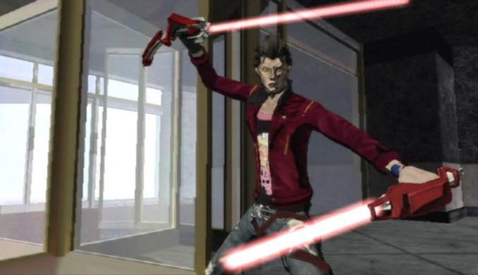 """Das Bild zeigt """"No More Heroes""""-Protagonist und Anti-Held Travis Touchdown mit zwei Lichtschwertern."""