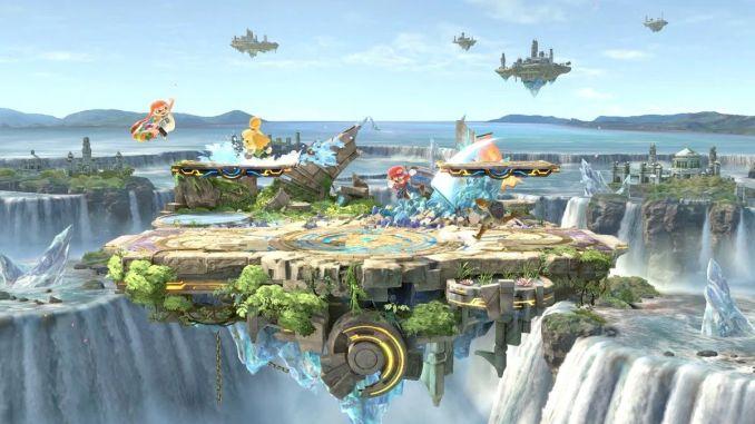 """Das Bild zeigt das Small Battlefield in """"Super Smash Bros. Ultimate""""."""