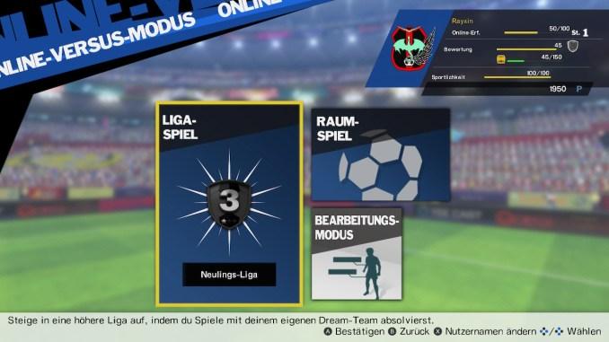 Dieses Bild zeigt das Menü von der Online-Liga